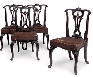 A SET OF FOUR EDWARDIAN CARVED