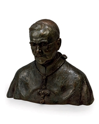 A BRONZE BUST OF CARDINAL WILL