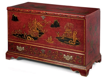 A RED JAPANNED CHEST