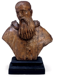 A NORTH ITALIAN WOOD BUST OF A