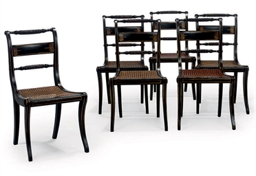 A SET OF SIX REGENCY EBONISED