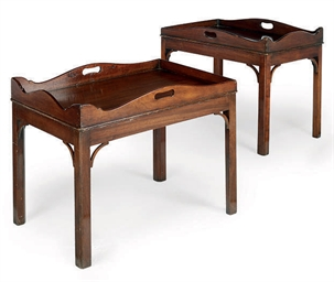 A PAIR OF MAHOGANY BUTLERS' TR