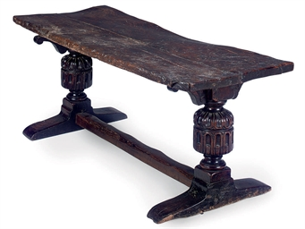 A OAK AND ELM REFECTORY TABLE