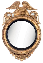 A LATE REGENCY GILT CONVEX MIR