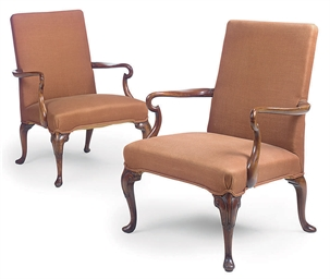 A PAIR OF MAHOGANY OPEN ARMCHA