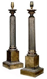 A PAIR OF CORINTHIAN COLUMN BR