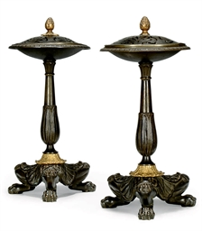 A PAIR OF EMPIRE BRONZE PASTIL