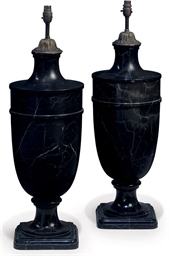 A PAIR OF VEINED BLACK MARBLE