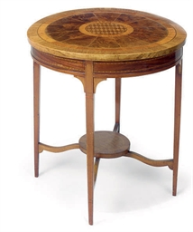 AN EDWARDIAN MAHOGANY AND PARQ