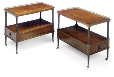 A PAIR OF MAHOGANY AND EBONISE