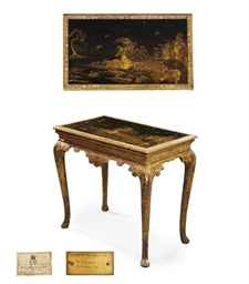 A GEORGE I GILT-GESSO, BLACK A