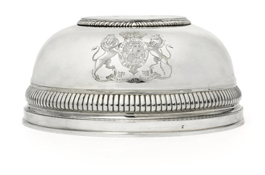 A GEORGE III SILVER DISH-COVER