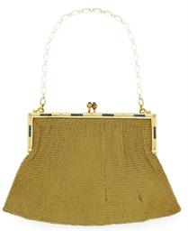 A GOLD AND GEM-SET EVENING BAG