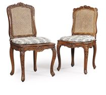 A PAIR OF LOUIS XV BEECH CHAISES