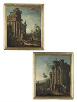 A capriccio landscape with a ruined temple and sculptural monuments, with figures collecting water from a fountain and a town beyond; and A capriccio landscape with a ruined temple by a river, cattle being taken to water near a cascade, a villa and mountains beyond