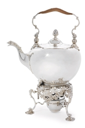 A GEORGE II SILVER KETTLE, STA