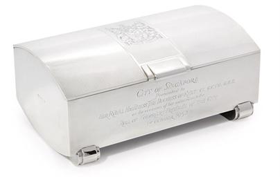 A GEORGE VI SILVER CIGAR-BOX