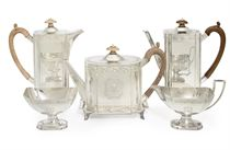 A GEORGE VI SIX-PIECE SILVER TEA AND COFFEE SERVICE