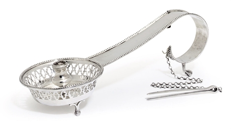 A SPANISH SILVER CHAMBER CANDL
