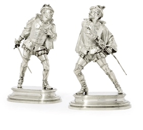 TWO SILVERED BRONZE MODELS OF