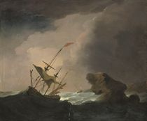 A warship drifting onto a rocky coastline