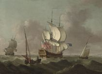 Ships of the fleet passing in a heavy swell