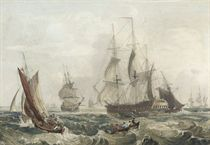 Warships in a stiff onshore breeze