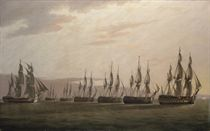 The Honourable East India Company's ship General Goddard passing along the enemy's line to bring the Dutch Commander to action on the morning of 14th June, 1795, off St. Helena