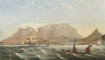 H.M.S. Jupiter leaving Cape Town bound for India with the new Governor-General of India, Lord Auckland, aboard, 21<V>s<V>t December 1835