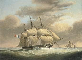 A French frigate in a stiff br