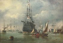 A large First Rate and other warships lying in the harbour at Portsmouth