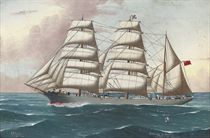 The three-masted steel barque Penrhyn Castle under full canvas