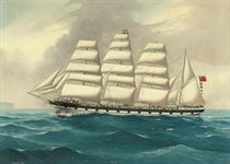 The four-masted barque West Lothian under full sail off Sydney Heads
