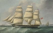 The three-masted merchantman Eleanor Dixon calling for a pilot off Anglesey