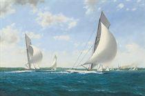 Reliance leading the fleet downwind, 1903