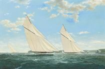 Endeavour and other J-class yachts racing in the Solent, 1935