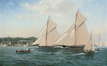 The King's cutter Britannia and the mighty Satanita powering to the finish off the Royal Yacht Squadron, 1893