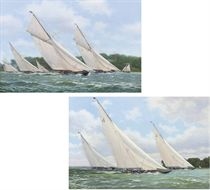 Endeavour (II), Endeavour (I) and Britannia racing in the Solent off Cowes; and Lulworth, Cambria and White Heather racing to windward off the Royal Yacht Squadron
