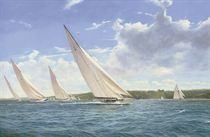Yankee and Astra powering along in the Solent off Norris Castle with the rest of the fleet astern