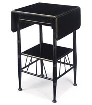 A VICTORIAN AESTHETIC EBONISED AND PARCEL-GILT DROP-LEAF OCCASIONAL TABLE
