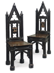 A PAIR OF VICTORIAN EBONISED G
