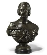 A VICTORIAN BRONZE BUST OF THE YOUNG QUEEN VICTORIA