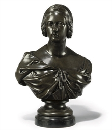 A VICTORIAN BRONZE BUST OF THE