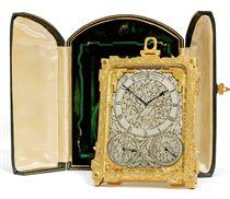 A VICTORIAN ENGRAVED GILT-BRASS EIGHT DAY TIMEPIECE STRUT CLOCK WITH CALENDARS