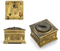 AN ELIZABETH I ENGRAVED GILT-BRASS STRIKING HORIZONTAL TABLE CLOCK