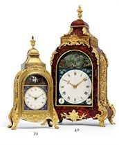 A GEORGE III ORMOLU-MOUNTED TORTOISESHELL QUARTER-STRIKING EIGHT DAY MUSICAL AND AUTOMATON TABLE CLOCK