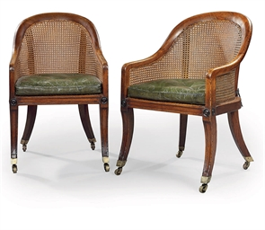 A PAIR OF REGENCY OAK CANED 'C