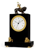 A GEORGE IV BLACK MARBLE, ORMOLU AND PATINATED BRONZE EIGHT DAY TIMEPIECE MANTEL CLOCK