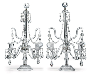 A PAIR OF GEORGE III CUT-GLASS