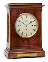 A VICTORIAN MAHOGANY QUARTER-STRIKING EIGHT DAY TABLE CLOCK
